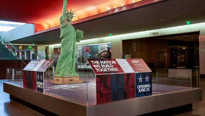 Lego's 9-and-a-half-foot model of the Statue of Liberty in the Smithsonian's National Museum of American History.