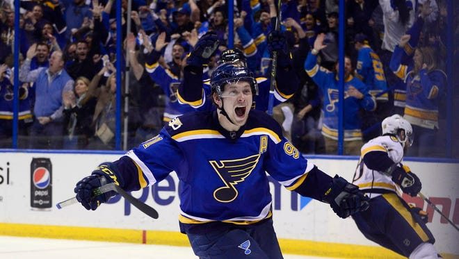 St. Louis Blues right wing Vladimir Tarasenko (91) celebrates after scoring the game-winning goal during the third period against the Nashville Predators in Game 2.