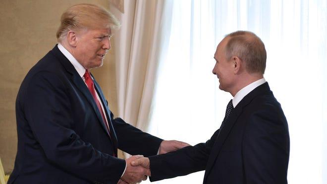 President Donald Trump and Russian President Vladimir Putin, Helsinki, Finland, Monday, July 16, 2018.