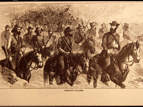 An historic lithograph shows Confederate troops led by Gen. John Hunt Morgan as they panicked southeastern Indiana for six days in July 1863.