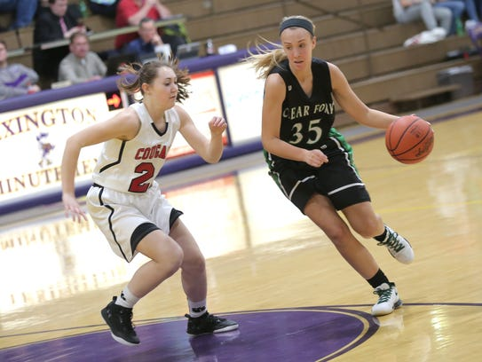 Clear Fork's Alli Studenmund dribbles the ball past