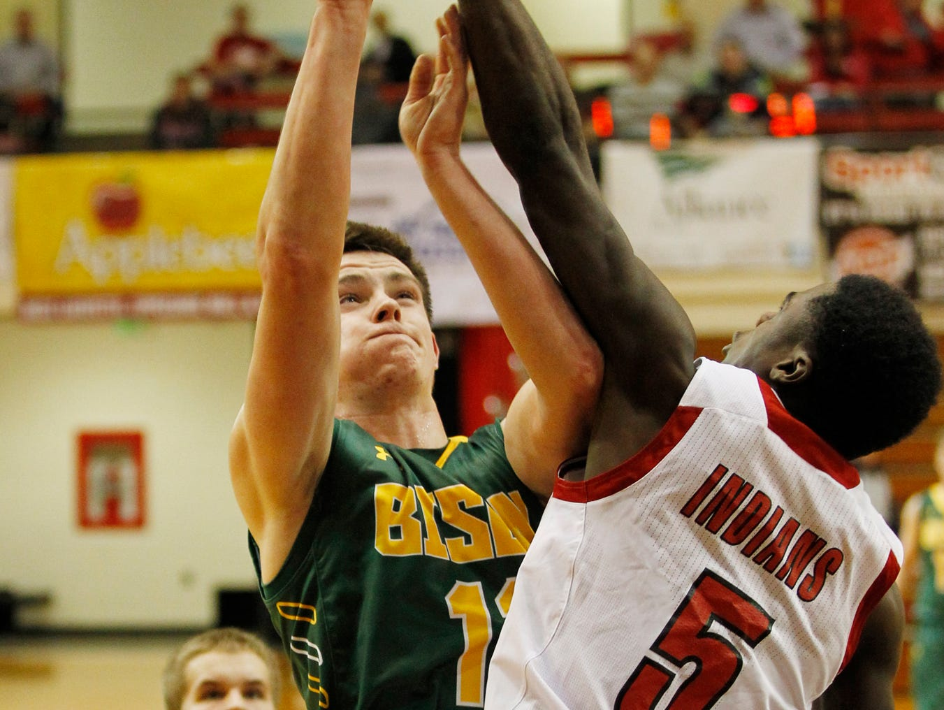 Benton Central's Devin Crabtree has his shot blocked by Kris Goodlow of Twin Lakes in the J&C Hoops Classic Monday, November 30, 2015, at Jefferson High School. Twin Lakes thumped Benton Central 75-44.