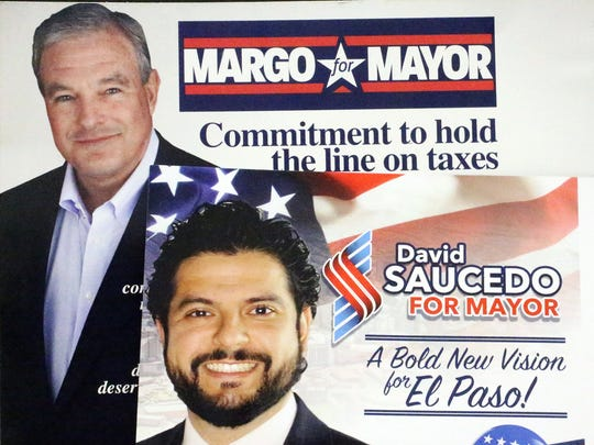 Mayoral runoff campaign ads for Dee Margo and David Saucedo.