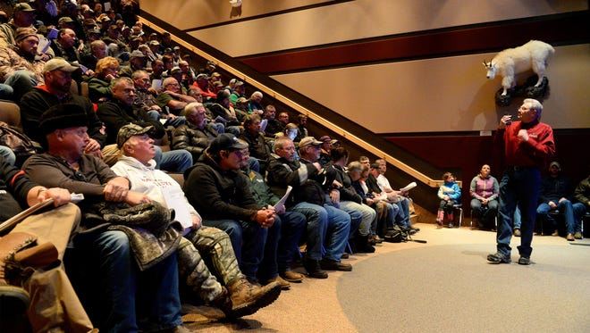 Gary Bertellotti, Region 4 supervisor for Montana Fish, Wildlife and Parks, welcomes the public to Wednesday's public comment hearing at the Lewis and Clark Interpretive Center. Around 260 people attended the hearing on a petition seeking restrictions on motorized boat traffic allowed on some of Montana's rivers.
