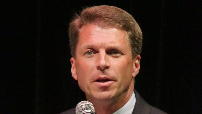 6th Congressional candidate Joe Leibham speaks during the debate Wednesday, July 30, 2014 at Plymouth High School in Plymouth.