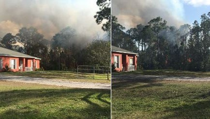 Brush fire in Grant/Valkaria on Sunday.
