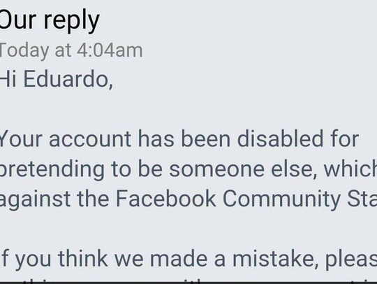 A screen shot of the reply from Facebook to Eduardo