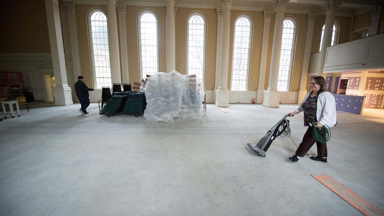 Watch St. Paul's Lutheran Church in York set up their Sunday service each Sunday as their church undergoes a $3.5 mil renovation during the week. The room is torn down again after worship for construction to begin on Monday.