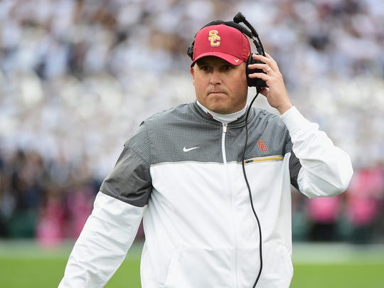 USC head coach Clay Helton reacts during the 2017 Rose Bowl Game presented by Northwestern Mutual against the Penn State Nittany Lions at the Rose Bowl on January 2, 2017 in Pasadena, California.