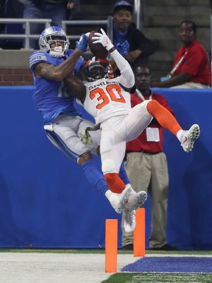 Detroit Lions' Kenny Golladay is defended by the Cleveland Browns' Jason McCourty in the first quarter Sunday, Nov. 12, 2017 at Ford Field.