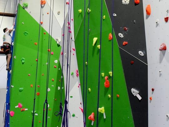 Indoor rock climbing at G-Rock Climbing.