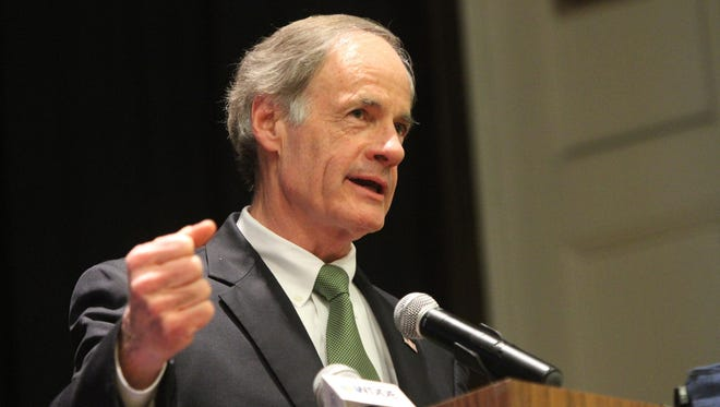 U.S. Sen. Tom Carper, D-Del., speaks at an event in Wilmington on March 5. Carper says he will support the White House-backed Iran nuclear deal.