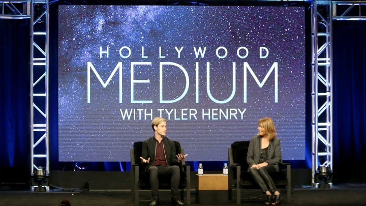 Tyler Henry (left) and executive producer Stephanie Drachkovitch speak Aug. 3, 2016, at the 'Hollywood Medium' panel discussion during the NBCUniversal portion of the 2016 Television Critics Association Summer Tour at The Beverly Hilton Hotel in Beverly Hills.