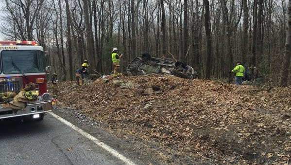 An unnamed female was flown to the hospital after a vehicle rollover and entrapment.