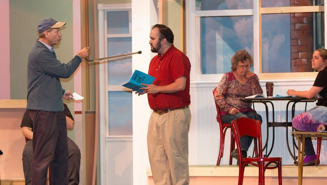 "Actors rehearse ""Murder at the Malt Shop"" last month at the Mar-Va Theater in Pocomoke. From left, Russ Blake, Billy Conry, Tracy Trego and Megan Onley prepare for the play running Friday through Sunday, May 13-15, at the theater."