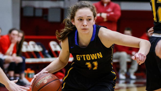 Germantown sophomore Natalie McNeal (11) breaks for the paint during the WIAA Division 1 regional championship game at Waukesha South on Saturday, Feb. 24, 2018.