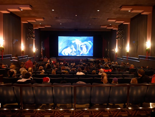 "A shot inside the Allen Theatre ""movie palace"" with its refurbished Art Deco design, a feature longtime owner Skip Hicks kept intact when he renovated the building in 1995."