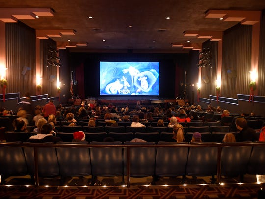 """A shot inside the Allen Theatre """"movie palace"""" with its refurbished Art Deco design, a feature longtime owner Skip Hicks kept intact when he renovated the building in 1995."""