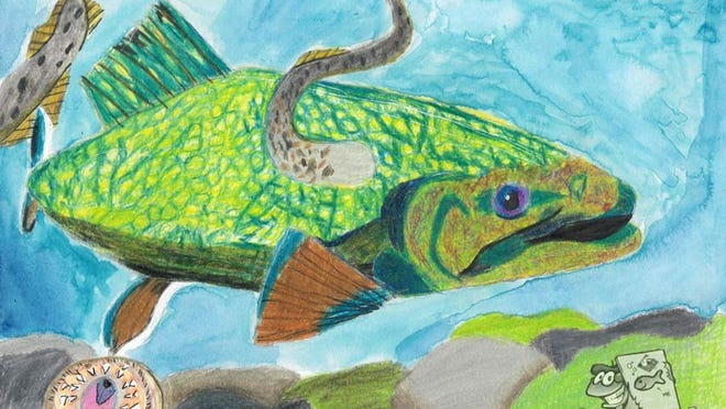 This is North East seventh-grader Tilden Abercrombie's entry that won the Invader Crusader award in the Wildlife Forever State Fish Art Contest. It pictures an invasive sea lamprey attached to a brook trout.