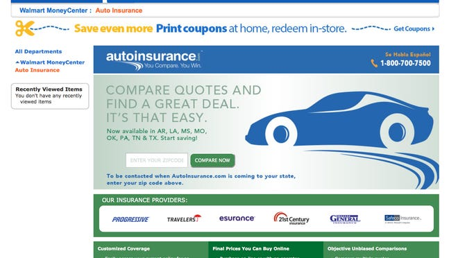 A framegrab of the Wal-Mart website shows the auto insurance shopping page taken Wednesday.