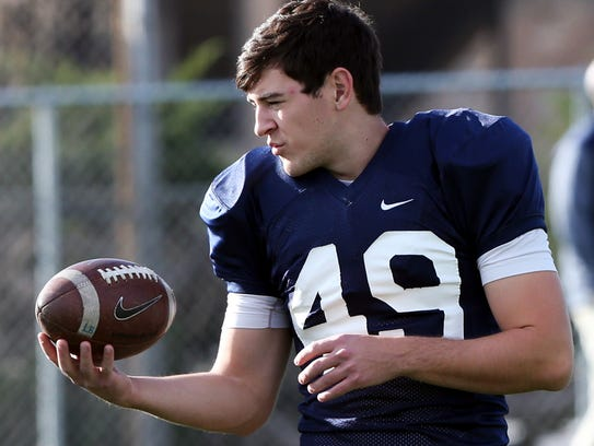 UTEP place kicker Jason Filley at Monday's practice