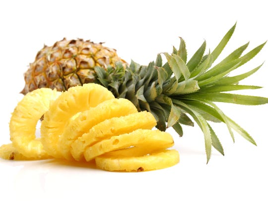 Pineapple with slices.