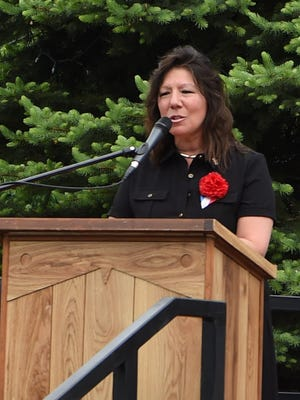 State Sen. Sue Serino speaks at a Memorial Day service held at the Pleasant Valley Veterans War Memorial off of Route 44.