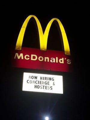 McDonald's is legit hiring a concierge and hostess.