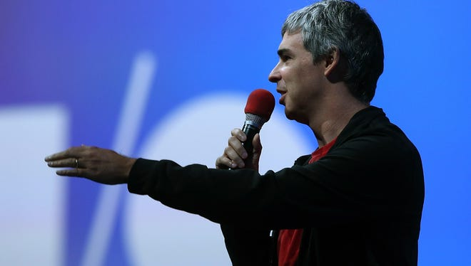 Larry Page, Google co-founder and CEO speaks during the opening keynote at the Google I/O developers conference at the Moscone Center in San Francisco