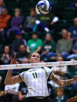 Acacia Andrews, shown earlier this season, had a career-high 18 kills in CSU's 3-1 win at Air Force on Thursday.