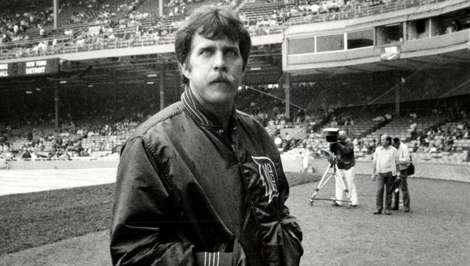 This undated photo shows Detroit Tigers baseball player Dave Bergman at Tiger Stadium in Detroit. Bergman has died at age 61.