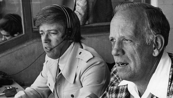 Reds' Mikemen Marty Brennaman, left, and Joe Nuxhall in 1976.