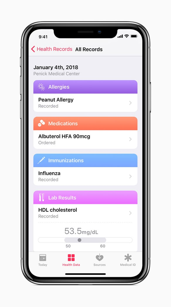 Health Records screen inside iOS 11.3