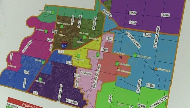 Map of Hamilton Southeastern Schools redistricting plan.