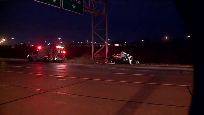 The scene of a reportedly fatal crash on I-70.