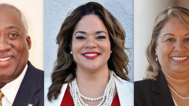 Three Republicans vying for Florida House District 27 in the Aug. 18 primary, from left, are Webster Barnaby, Erika Benfield and Zenaida Denizac.
