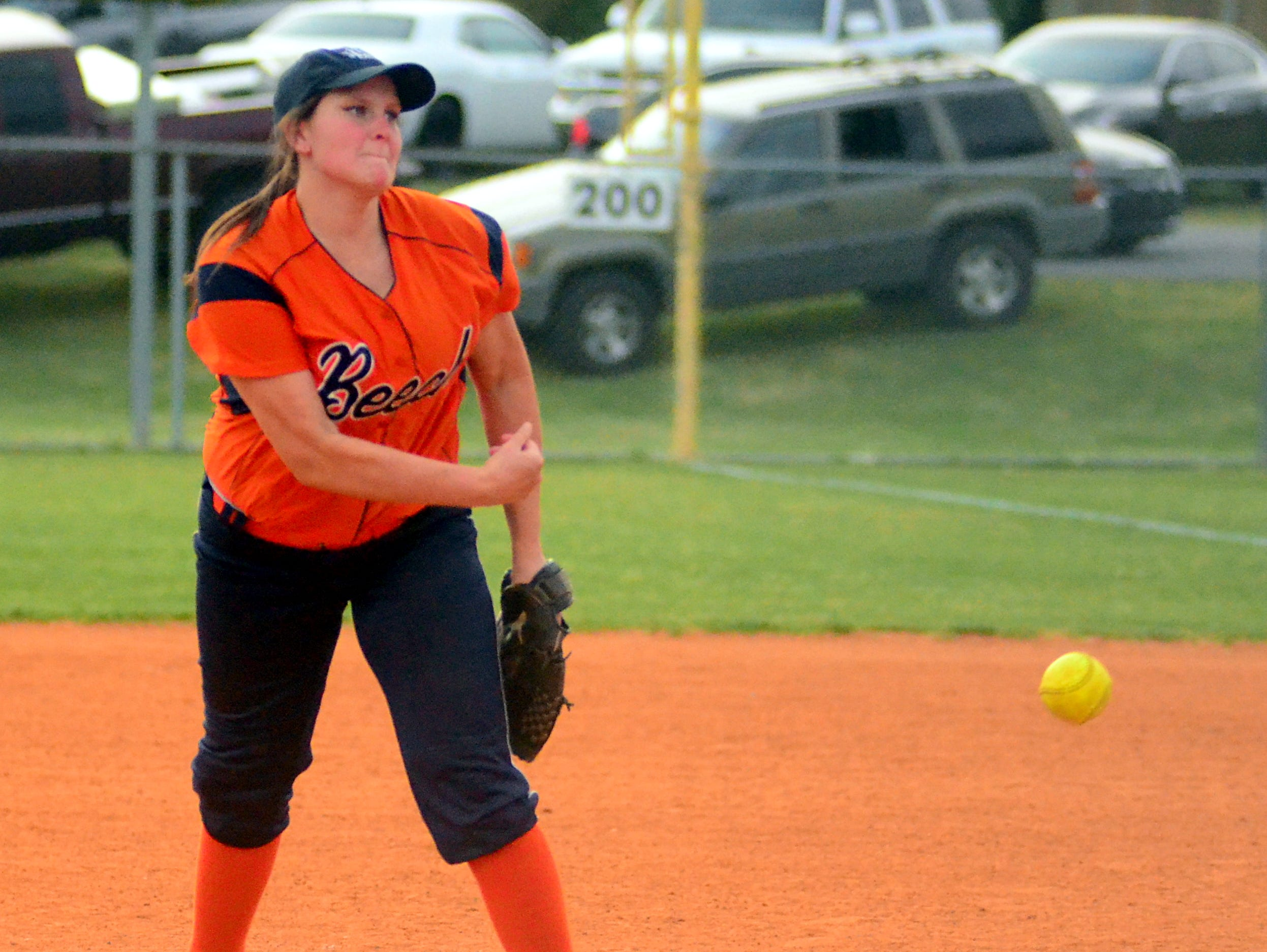 Beech High senior Ashley Graves delivers a pitch during Tuesday's junior-varsity contest against Hendersonville. Graves earned her first victory this season on Thursday, as she is returning from a preseason knee injury.