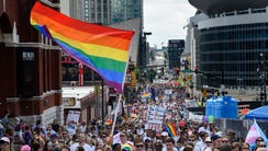 Thousands gathered to show their pride and march through