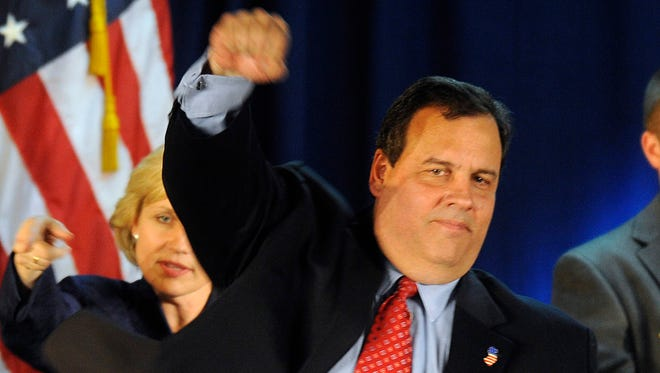 Christie celebrates his defeat of incumbent Gov. Jon Corzine to become the next governor of New Jersey on Nov. 3, 2009, in Parsippany, N.J.