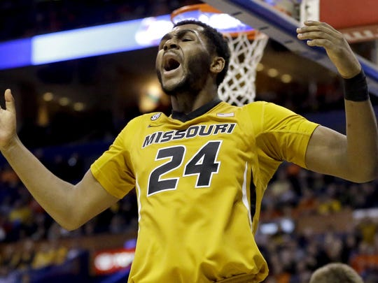 Missouri's Kevin Puryear reacts to a call during the second half of an NCAA college basketball game against Illinois on Wednesday, Dec. 23, 2015, in St. Louis. Illinois won 68-63. (AP Photo/Jeff Roberson)