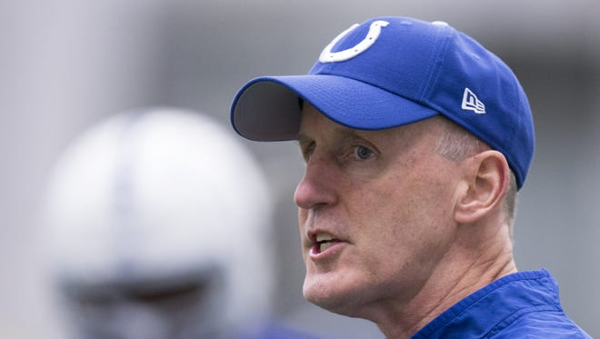 Joe Philbin, offensive line coach, during Colts practice, at Indiana Farm Bureau Football Center, Indianapolis, Tuesday, May 17, 2016.