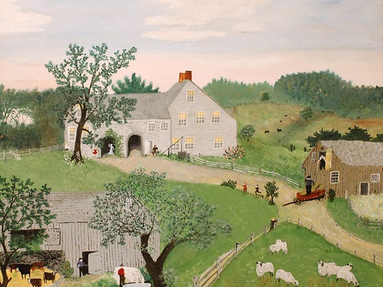 "Anna Mary ""Grandma"" Robertson Moses, ""Watering the Horses,"" 1949."