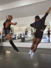 "Amir Yorke and Darwin Black rehearse for ""A Midsummer Night's Dream"" at Sierra Nevada Ballet."