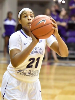 Holli Wilkins (21) and the Furman women's basketball team faces ETSU in Thursday's opening round of the Southern Conference Tournament.
