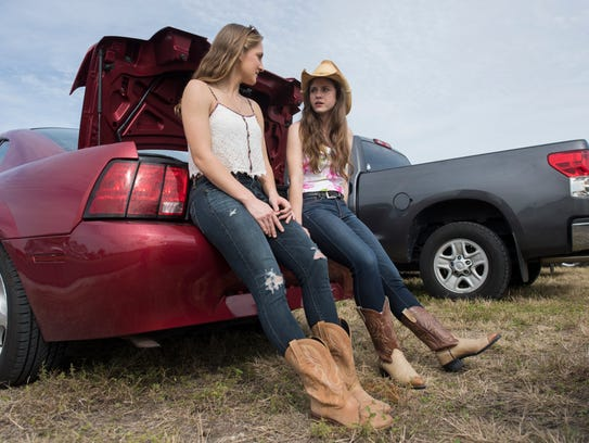 Carley Lutzow, left, and Kelly Karcher, both of Fort