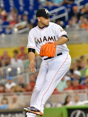 Miami Marlins starting pitcher Jose Fernandez (16) delivers a pitch.