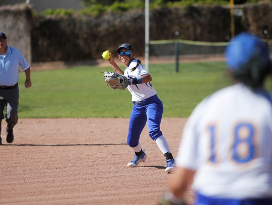 Bloomfield shortstop Brandi Alcantar, seen here during a district game on April 27 at Farmington, was named to 5A's All State second team.