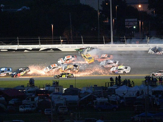 One of several multi-car accidents during the Coke Zero 400 at Daytona International Speedway.
