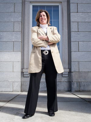 Rep. Heidi Scheuermann, R-Stowe, potential gubernatorial candidate, at the Vermont State House on April 10.