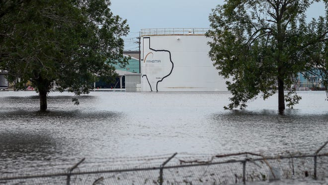 The Arkema Inc. chemical plant is flooded from Tropical Storm Harvey, Wednesday, Aug. 30, 2017, in Crosby, Texas.